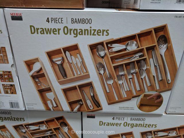 Seville Classics 4-Piece Bamboo Drawer Organizers Costco