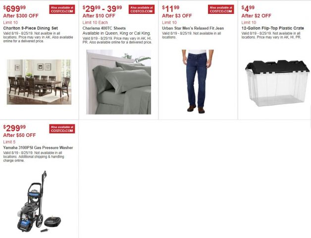 Costco In-Warehouse Hot Buys 08/19/19 to 08/25/19