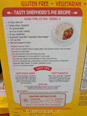Tasty Bite Vegetable Tikka Masala Costco