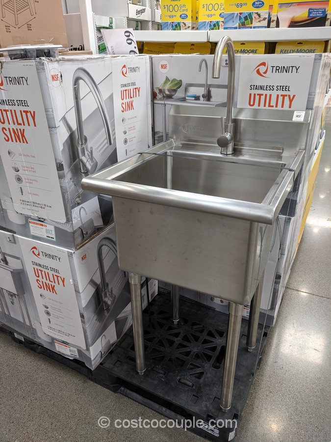Trinity Stainless Steel Utility Sink, Utility Sink With Cabinet Costco