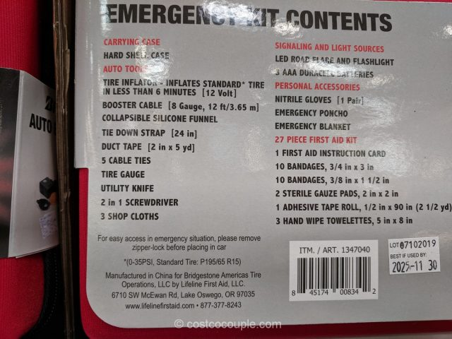 Bridgestone Auto Emergency Kit Costco