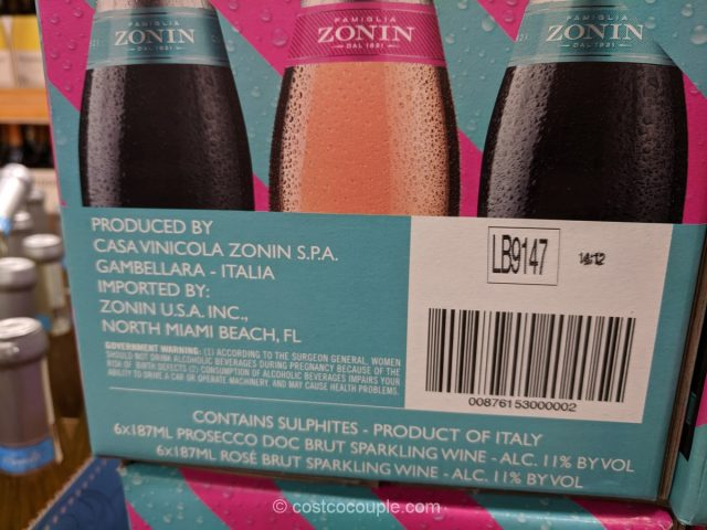 Zonin Prosecco and Rose Mini Bottles Costco
