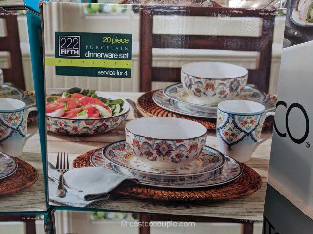 CostcoCouple & 222 Fifth Tunisia Porcelain 20-Piece Dinnerware Set
