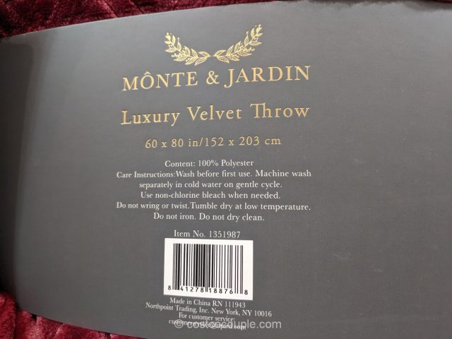 Monte and Jardin Luxury Velvet Throw Costco