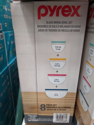 Pyrex 8-Piece Glass Mixing Bowls Costco