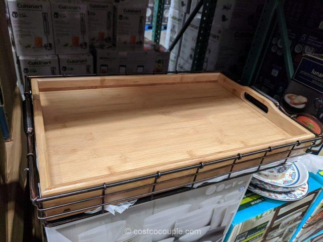 Mesa Bamboo and Metal Tray Set Costco