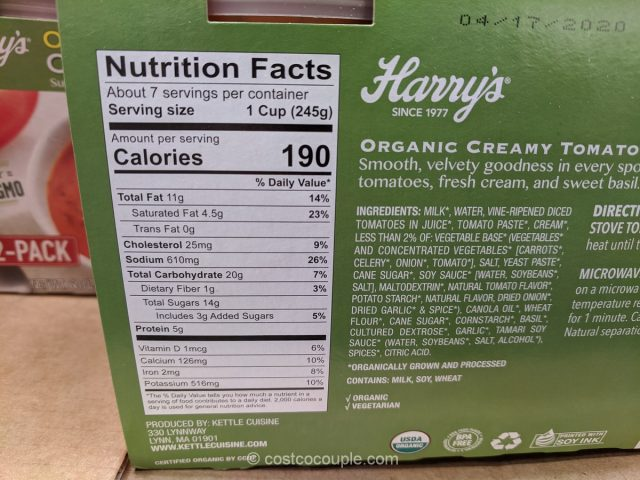 Harry's Organic Creamy Tomato Basil Soup Costco