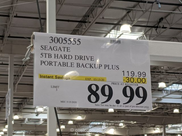 Seagate 5 TB Portable Hard Drive Costco