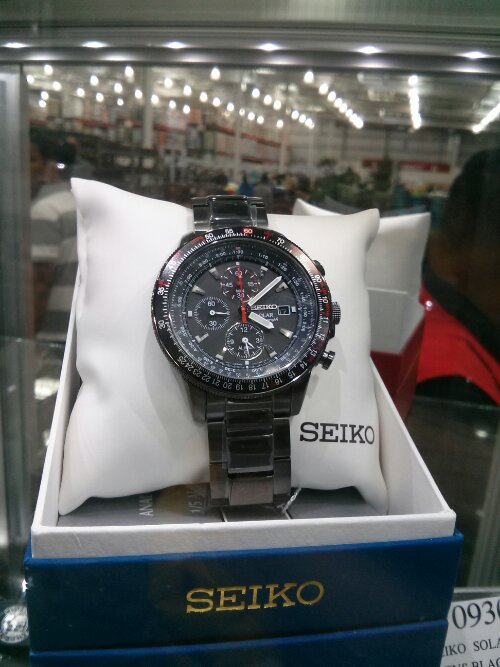 Seiko Black Solar Chronograph watch at Costco