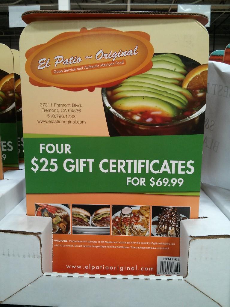 Gift Card El Patio Costco