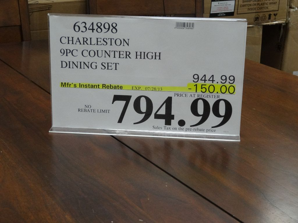 Charleston 9 Piece Counter Height Dining Set Costco