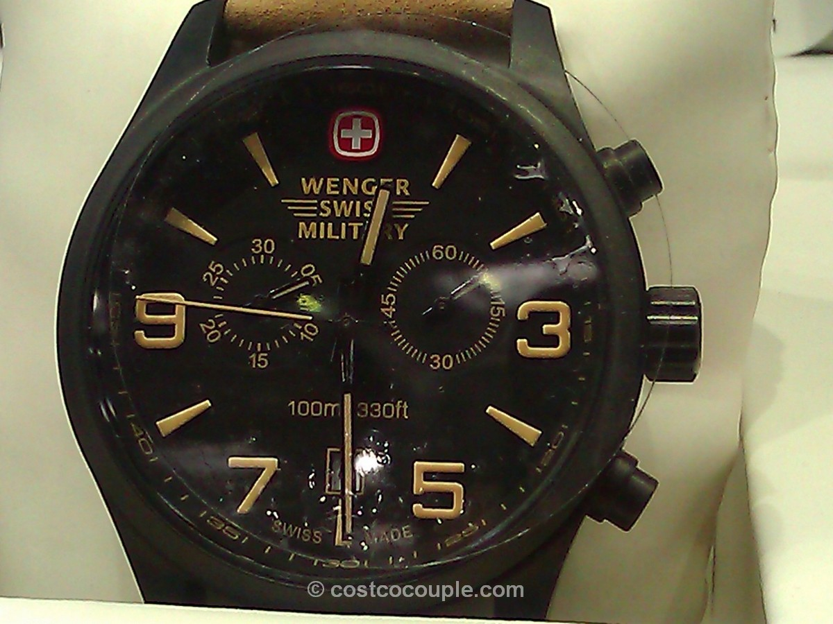 Wenger Swiss Military Men's Black Chronograph Brown Leather Costco