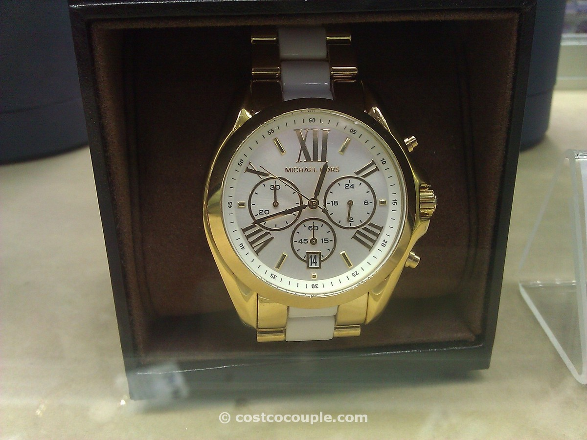 Michael Kors Ladies Gold Tone and White Resin Watch Costco 1