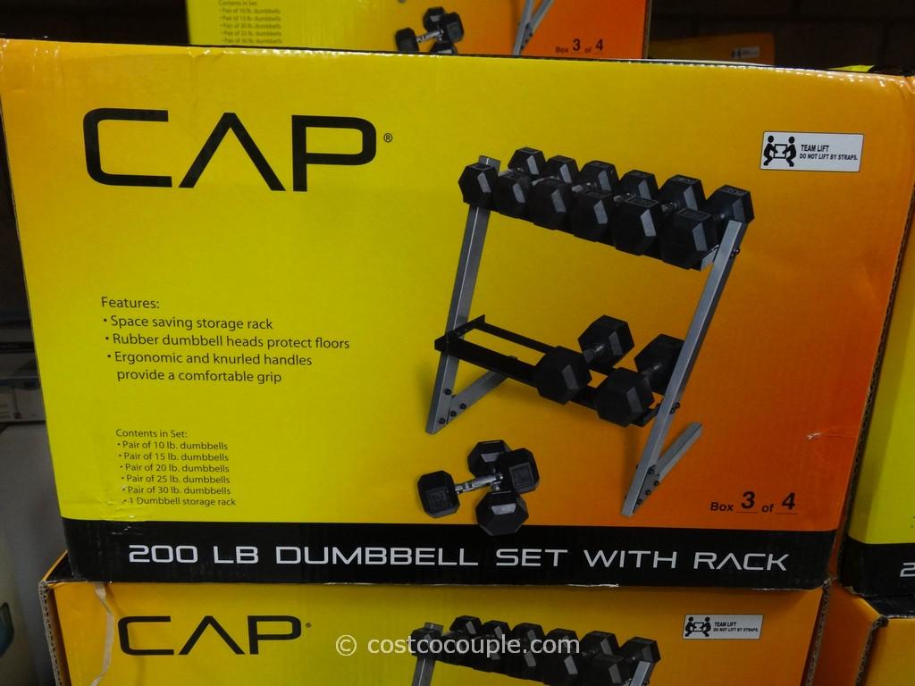 Cap 200 lb Dumbbell Set With Rack Costco 1