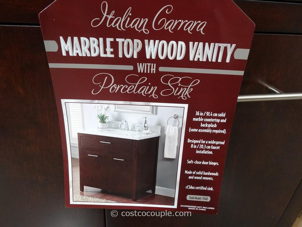 Lanza Products 36 Inch Italian Carrara Marble Top Wood Vanity Costco 4