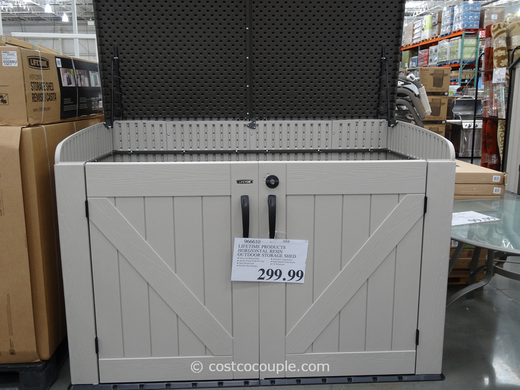 Lifetime Products Horizontal Resin Outdoor Storage Shed Costco 1