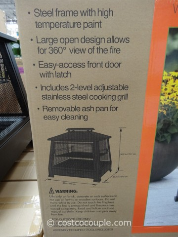 Outdoor Fireplace with Cooking Grate on Costco Outdoor Fireplace id=26143