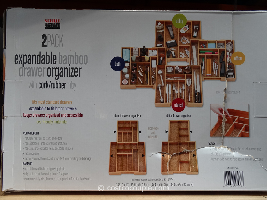 Seville Clics Bamboo Drawer Organizer Set Costco 4