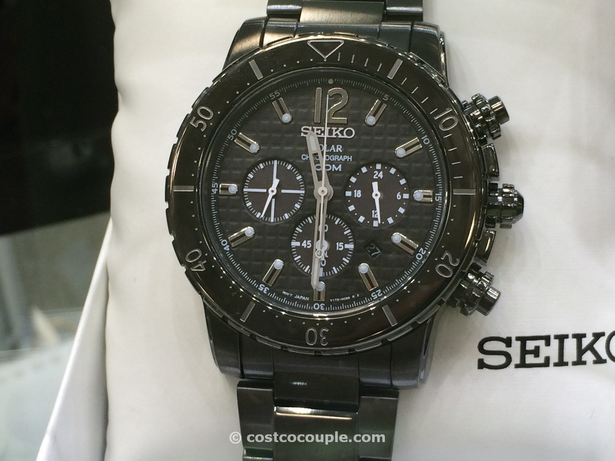Seiko Mens Solar All Black Chronograph Costco 1