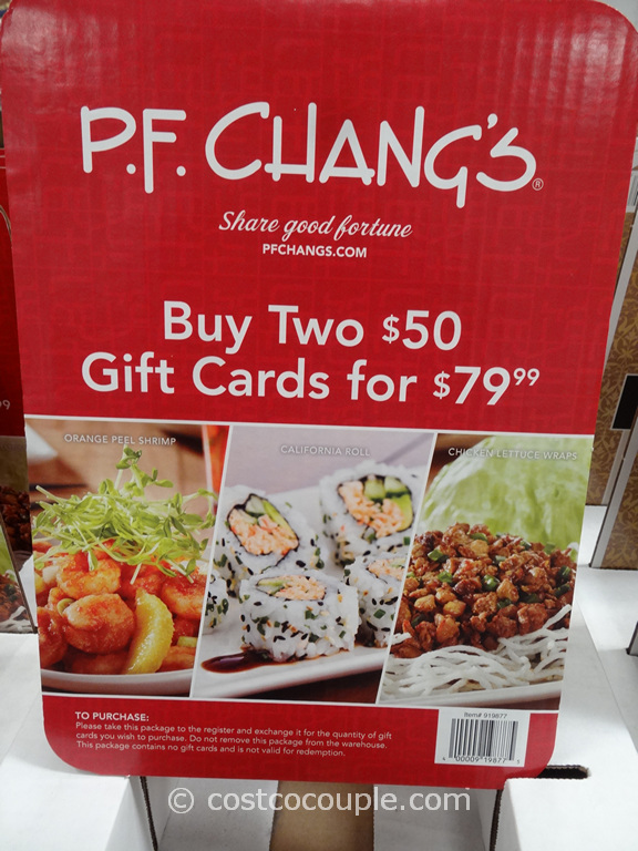Gift Card PF Changs Costco 1
