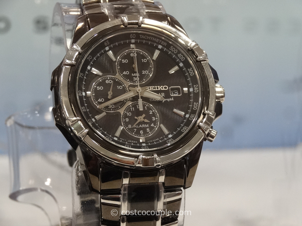 Seiko Solar Mens Chronograph Two Tone Black Watch Costco 4