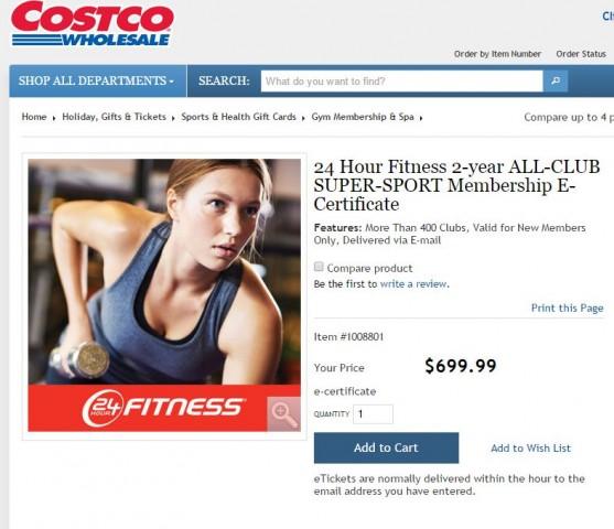 24 Hour Fitness 2 Year All Club Super Sport Membership Costco 1