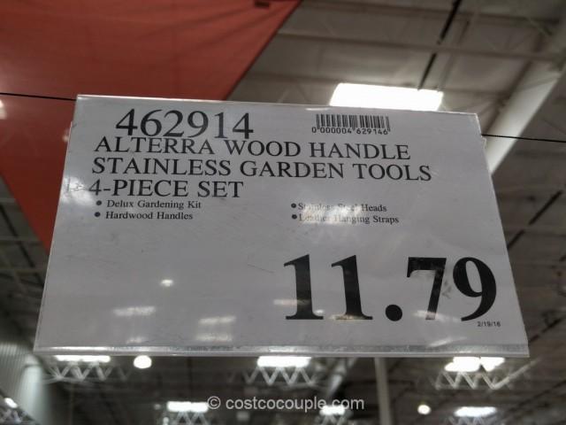 Alterra Wood Handle Stainless Steel Garden Tool Set Costco 1