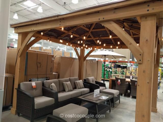 Yardistry Wood Gazebo With Aluminum Roof on Backyard Pavilion Costco id=37171